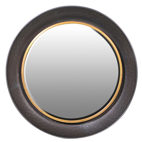 Round Wall Mirror Black Gold Cwt Tatws